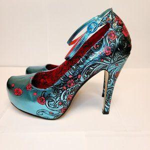 Iron Fist Blue Metallic Floral Print Heels